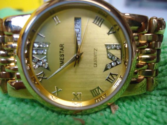 Relógio Original Timestar 23k Gold Plated Semi Novo Barato.