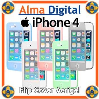 Flip Cover Gel iPhone 4 4s Estuche Forro Protector Goma