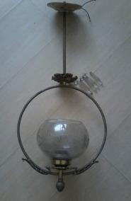 Lustre Pêndulo De Bronze Antigo Com Cristais Original