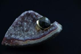 Anel Facetado Brilho Dourado De Obsidiana Negra