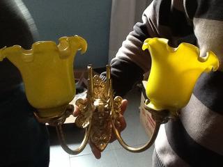 Aplique De H. Dorado Con Tulipas Amarillas . 1 Juegos Doble