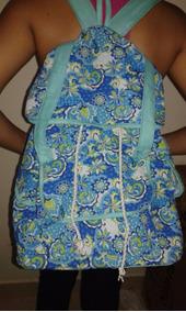 Mochila Bolsa Azul Floral