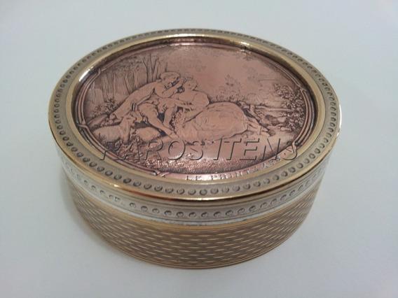 Caixa Porta Jóias Redonda Bronze C/ 3 Tons 1920 France Rara