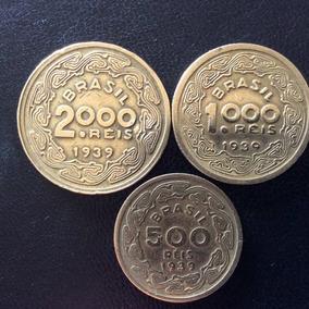 Moedas 2000, 1000 E 500 Réis 1939 - Brasileiros Ilustres Mbc