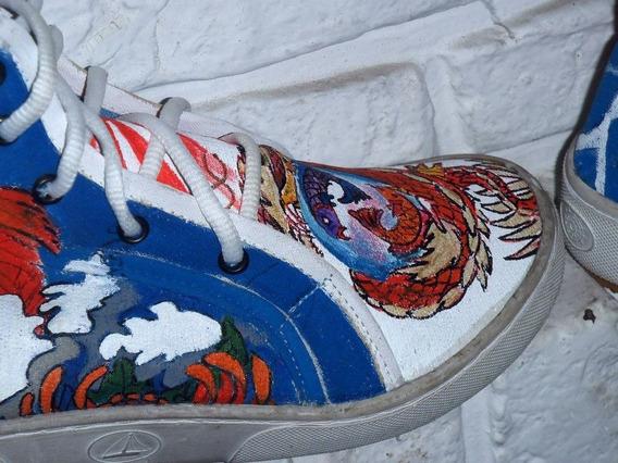 Zapatillas Pintadas A Mano Talle 39 Pez Koi