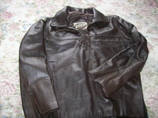 Campera O Camisa De Cuero Marron Motor Oil Impecable!!!