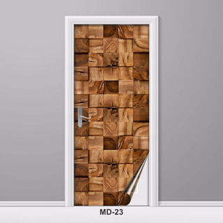 Adesivo Para Porta Madeira Cubo Rústico Md-23 - 5 Unids