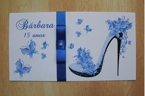 40 Convites 15 Anos Debutante Azul C/ Laço