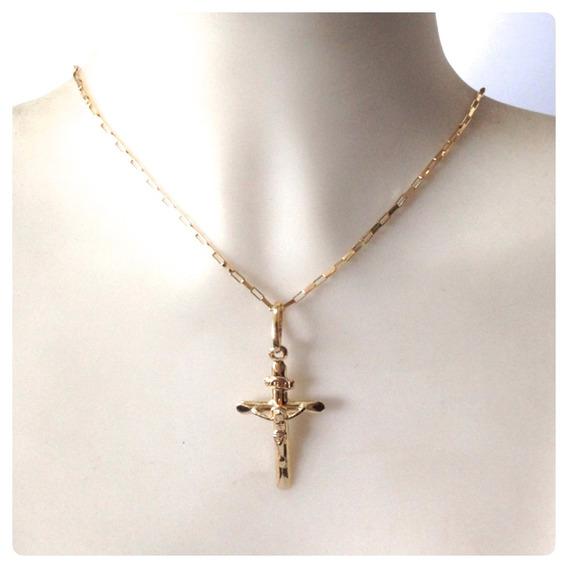 Cordão Masculino De 60cm E Pingente Cruz Com Cristo Ouro 18k