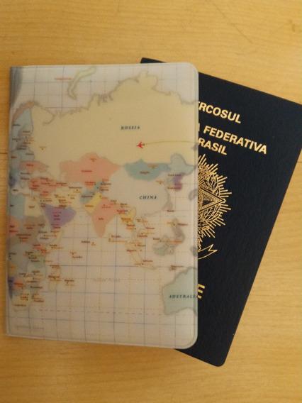 Capa Para Passaporte Pvc Mapa Mundi Indigo World Trip Fofo @