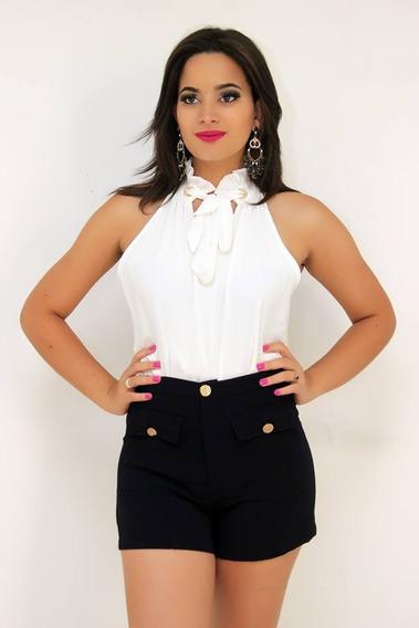 Shorts Feminino De Tecido Com Bolso Cintura Alta