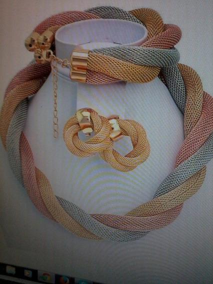 Conjunto Colar Italiano Ouro Amarelo Rose Branco