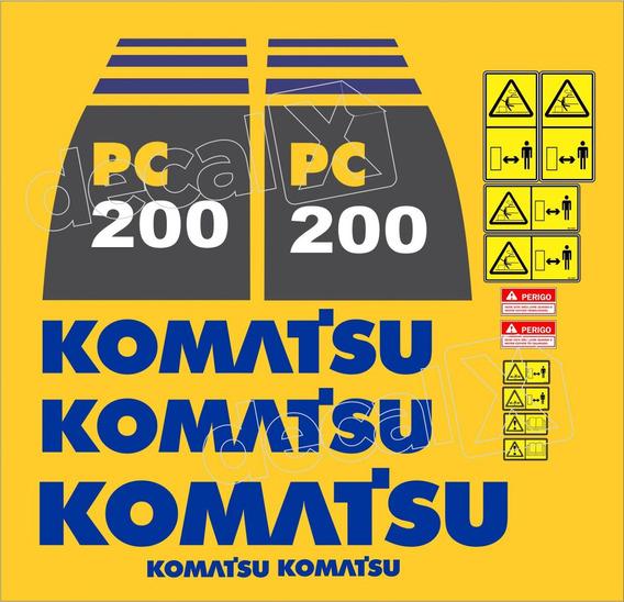 Adesivos Escavadeira Komatsu Pc200-8 Pc2008 Kit Completo Mk
