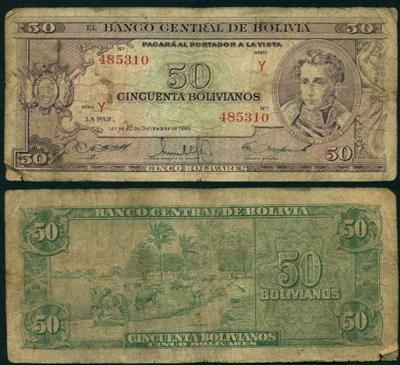 Bolivia Billete De 50 Bolivianos Del Año 1945 Buen Estado