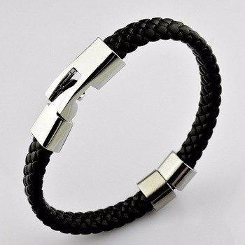 Bracelete Pulseira Masculina Argola Couro 10 Mm