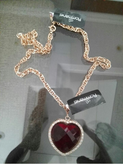 Cordão 42cm+pingente Coração Cristal Vermelho Rommanel Folhe