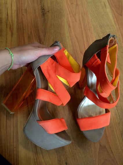 Hermosos Zapatos Tacones Qupid Naranja Con Gris 24 Y Medio!!