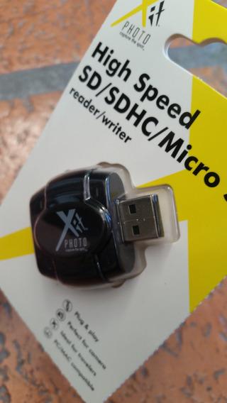 Leitor De Cartão Sd Sdhc E Micro Sd Alta Velocidade Usb X