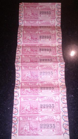Boleto De Loteria De 1947 Sin Cortar