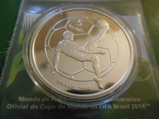 Moeda Prata Mascote Fuleco Copa Mundo Fifa - 5 Reais 2014