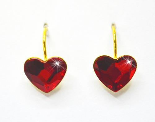 Aretes Corazón De Cristal Swarovski Y Plata Con Baño Oro 24k