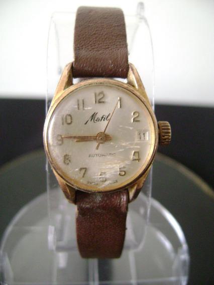 Antigo Relógio Mafil De Pulso Feminino Plaque Automático