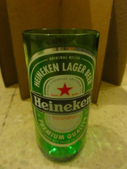 Paquete 4 Vasos De Botella De Vidrio, Reciclables Heineken