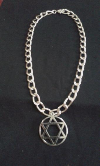 Judaísmo * Corrente Grossa Prata Medalha Estrela De David
