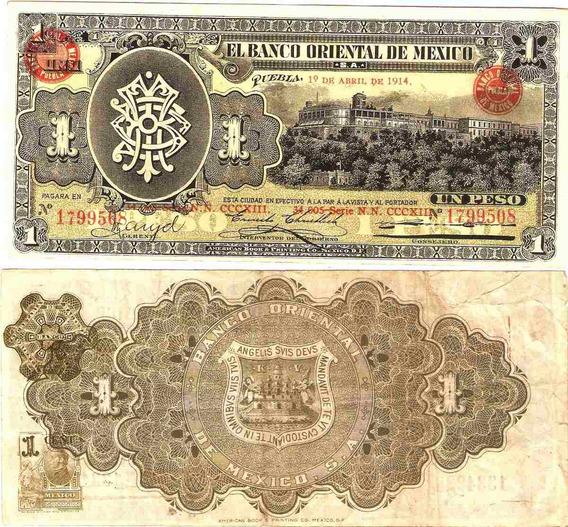Billete Puebla 1 Peso Sello Redondo Usado
