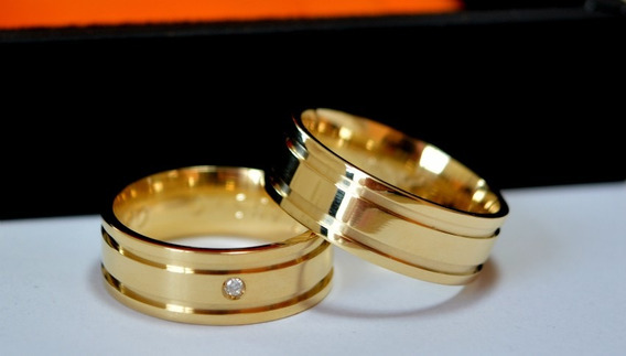 Alianças Em Ouro 18k Com 6mm Com Diamantes Direto Da Fábrica