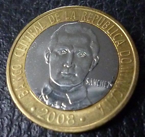 República Dominicana Bimetalica Francisco Sanch 5 Pesos 2008