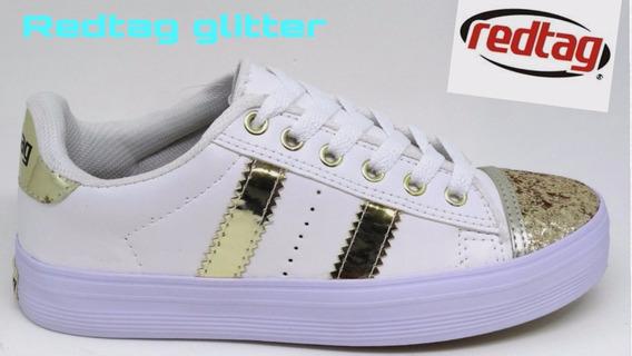 Tênis Feminino Branco Dourado Glitter Redtag Lançamento Top