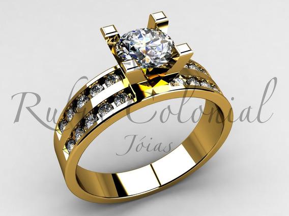 Anel Solitário - Top Desing - Luxo 90 Pontos Diamantes