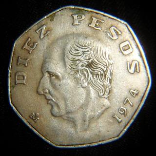 Moneda 10 Pesos 1974 Hidalgo Heptagonal Fecha Clave
