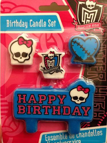 Imagen 1 de 3 de Juego De 4 Velas Para Pastel Monster High.