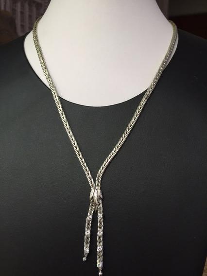 Colar Em Ouro Branco 16k Com Diamantes Naturais, 30.5gr., 47
