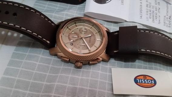 Relógio Fossil Dourado Com Cronógrafo - Modelo 2017 Com Nf