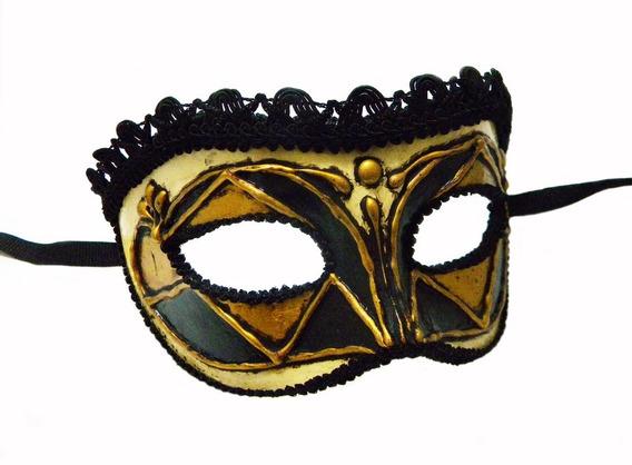 Antifaz Veneciano Arlecchino Dorado - Máscara Veneciana