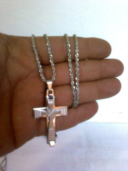 Corrente Colar Pingente Crucifixo Inox 316 L Detalhes