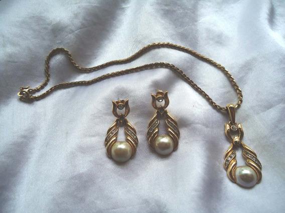 Elegante Conj.colar/brincos Vintage Banho Ouro Valentino80
