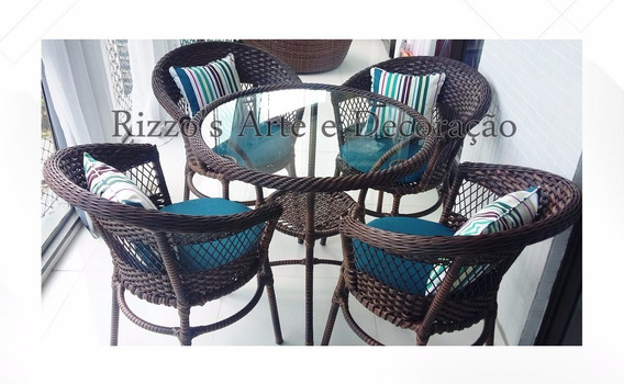 Mesa Hotel 70cm + 4 Cadeira, Jardim Mesa,fibra Sintética