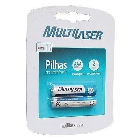 Pilhas Recarregáveis Aaa Multilaser 1000mah Blister C/ 2 Un.