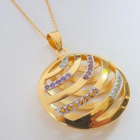 Pingente Corrente De Prata 925 Com Banho Ouro E Pedras 9463