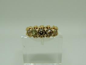 Glitter Anel Meia Aliança Ouro E 57 Pontos Diamantes Brown