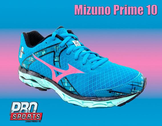 Mizuno Wave Prime 10 W Azul Verde Rosa - Original En
