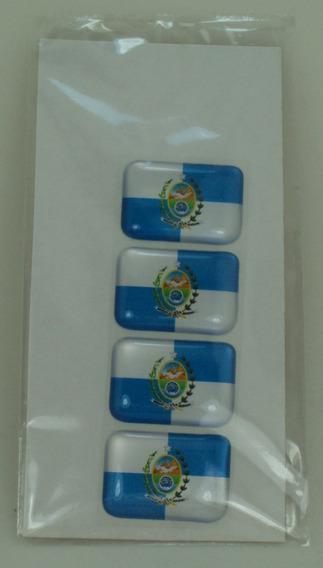 4 Bandeirinhas Estado Rio De Janeiro Tarjeta Adesivo Placa $