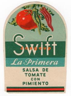 Antigua Etiqueta Salsa De Tomate Con Pimiento Swift La Plata
