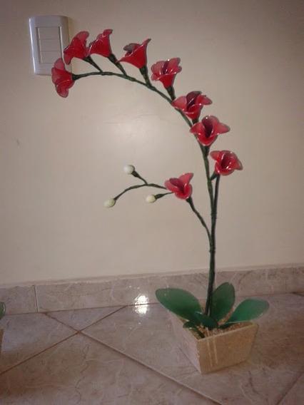 Arranjo Artificial Orquídea Com 2 Galhos Vaso De Madeira