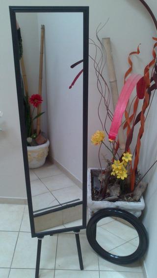 Espejo 125 X 34cm Con Marco Negro Con Detalles Oferta!