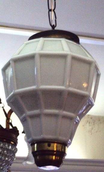 Lustre Art Decó Pendente De Latão E Opalina Branca Facetada